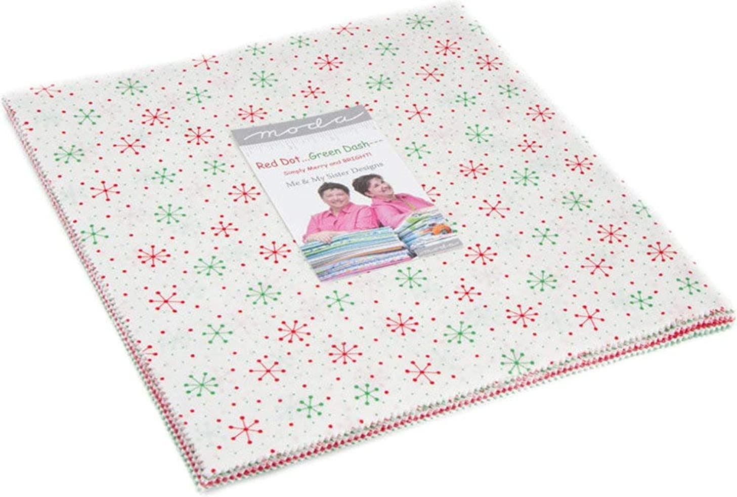 Me and My Sister Designs Red Dot Green Dash Layer Cake 42 10-inch Squares Moda Fabrics 22300LC