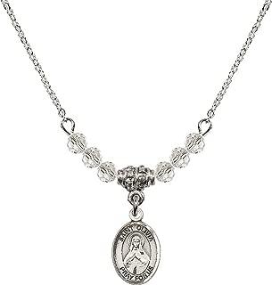Bonyak Jewelry 18 Inch Rhodium Plated Necklace w/ 4mm White April Birth Month Stone Beads and Saint Olivia Charm