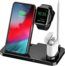 Wireless Charger 4 in 1 Charging Station Qi Fast Wireless Charger Stand Compatible iPhone 11/11pro/11pro Max/X/XS/XR/Xs Max/8/8 Plus Compatible Apple Watch Charger Series 5/4/3/2/1 Black