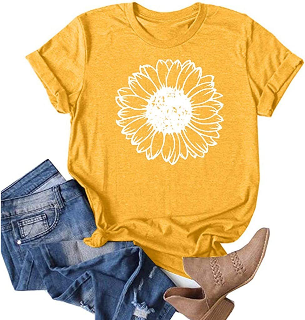 AODONG Summer Tops for Women Trendy, Women's Casual Loose Blouses Dandelion Printing Tunic Tees Funny Graphic T-Shirts