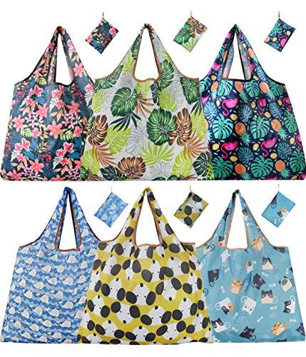 Bolsas de la compra de tamaño grande, reutilizables, plegables, ligeras, lavables, resistentes y ecológicas, con un monedero, paquete de 6 unidades, poliéster, Patrón B 6 XL, X-Large