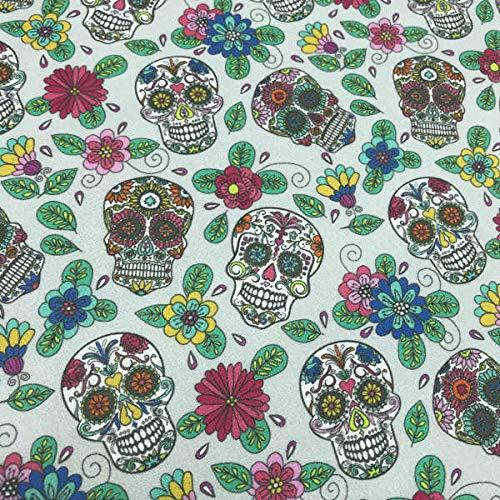 Kt KILOtela Tela por Metros de Patchwork - Estampación Digital - 100% algodón - 140 cm Ancho - Largo a elección de 50 en 50 cm | Calaveras Mexican - Gris, Multicolor