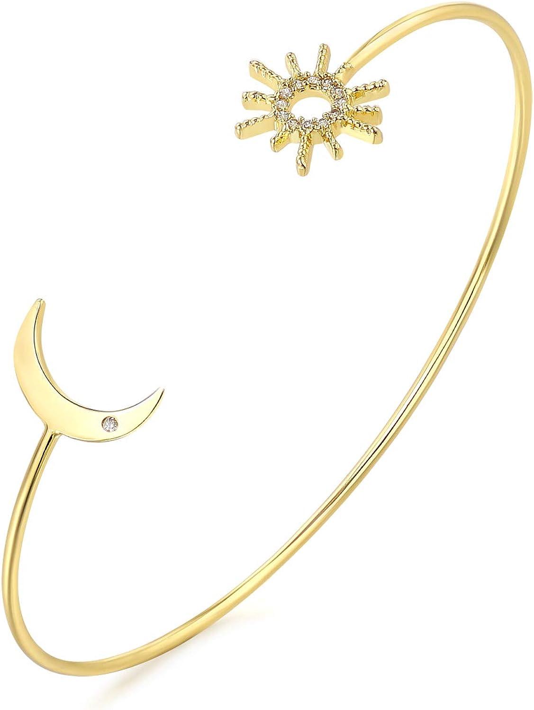 YeGieonr Gold Bracelets for Women, Open Cuff Women's Bangle Bracelets with 18K Gold Plated, Adjustable Minimalist C-Shape Brass Bangles