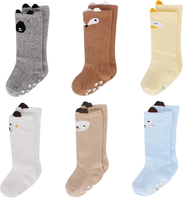 Max 45% OFF 6PC Kids Animal Grip Tube Socks Japan Maker New Fashion Big Girls Toddler Little