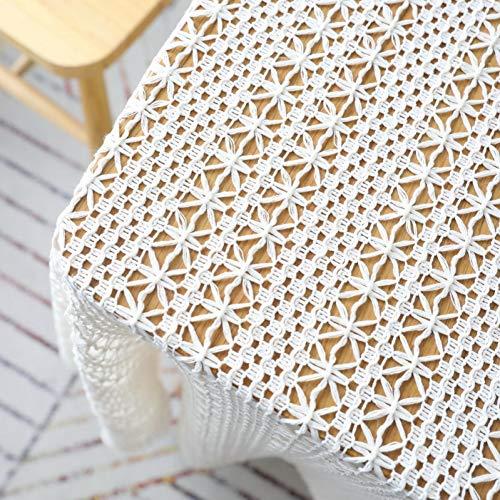 Telihome Crochet Mantel Mantel para Comer té Cubierta de la Mesa Cubierta del Piano decoración de la Boda Accesorios de Tiro Lavable tapete de Encaje,Beige,W100 X L150cm