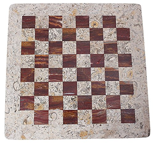 RADICALn 15 Inches Fossil Coral and Dark Brown Weighted Handmade Marble Most Popular Chess Board Games Set - Classic… 5