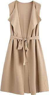 SheIn Women's Casual Lapel Open Front Sleeveless Vest Cardigan Blazer with Belt Jacket