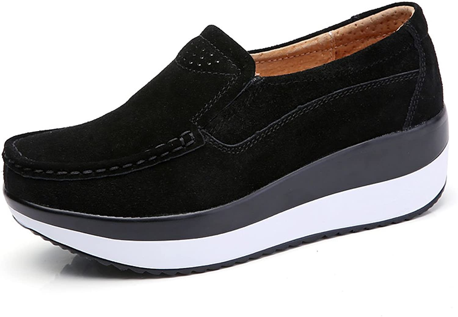 TSIODFO Slip On shoes for Autumn Platform Loafers for Women Suede Cow Leather Comforable Fashion Black Sneakers Size 6 (3213black37)
