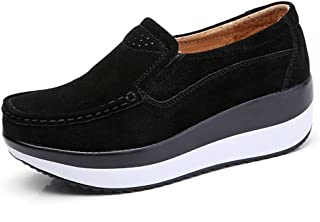YZHYXS Black Womens Slip On Sneakers Suede Cow Leather Comfortable Platform Loafers Women Fashion Sneakers Size 7.5 3213black40