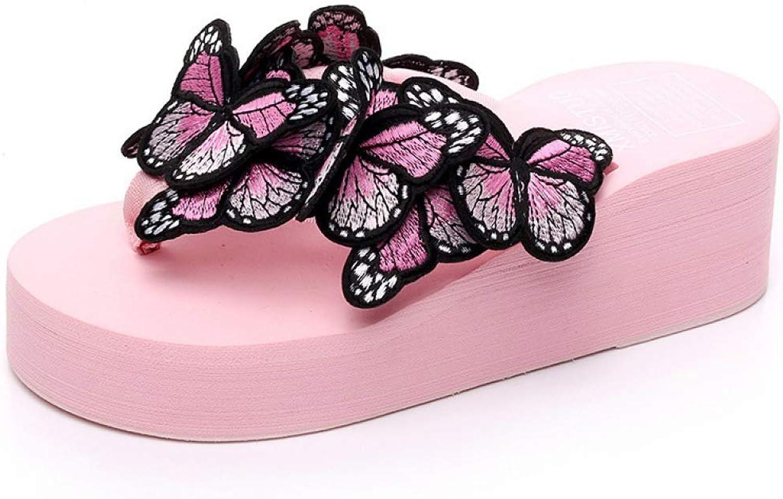 MEIZOKEN Flat Flip Flops Women shoes Handmade Butterfly Cool Slippers Summer Hawaiian Beach Wedge Platform Sandal