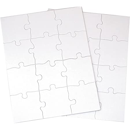 """Inovart Puzzle-It 12-Piece Blank Puzzle, 12 Puzzles Per Package, 8-1/2"""" x 11"""", White"""