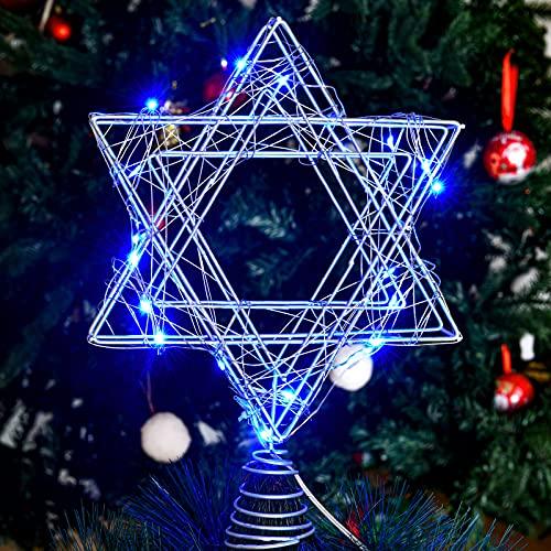 9.8 Inch Chanukah Star Christmas Tree Topper LED Rattan Star Christmas Tree Star Topper 3D Treetop Star Decoration Star Shape Tree Topper for Hanukkah Christmas Diwali (Silver with Blue Light)