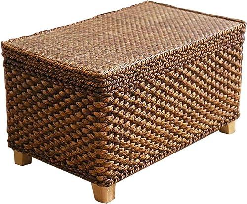 LXQGR Almacenamiento Taburete, Taburete de ratán con Tapa Acabado de Caja múltiples Funciones Taburete de sofá (Tamaño   D)