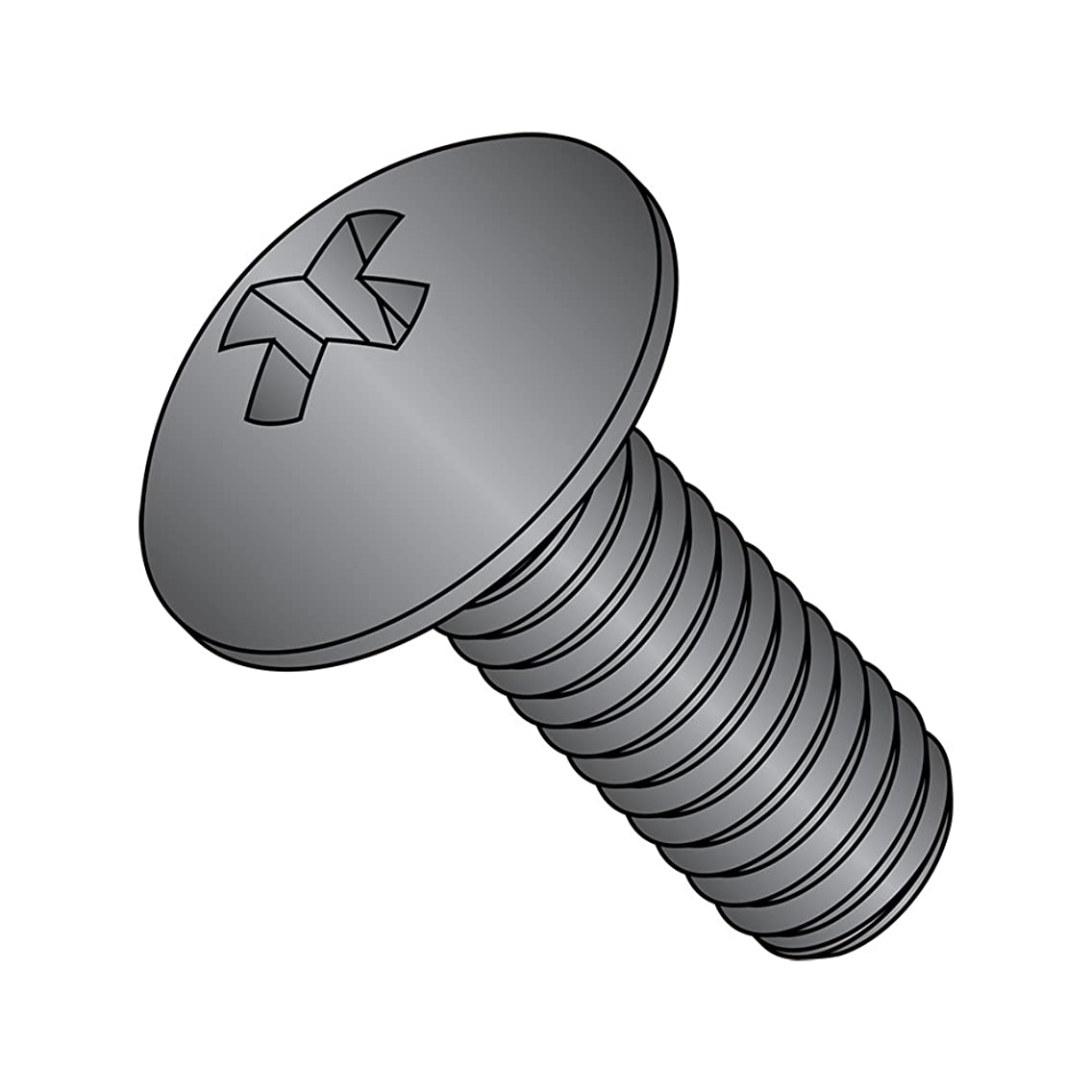 Steel Truss Head Machine Screw, Black Oxide Finish, Meets ASME B18.6.3, #2 Phillips Drive, #10-24 Thread Size, 5/8