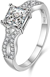 Uloveido Silver Plated Princess Square Cubic Zirconia Crystal Wedding Engagement Ring Women's Day Gift Size 6 7 8 9 WX026