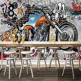 Mural Papel Pintado Graffiti de motocicleta de pared de ladrillo agrietado Fotomural para Paredes Papel pintado tejido no tejido Decoración de Pared decorativos Murales moderna 150(W)X105(H) cm