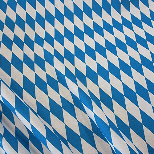 Meterware Stoff Baumwolle Bayernraute blau weiß 8 cm Bayern Raute Oktoberfest Wiesn Dekostoff
