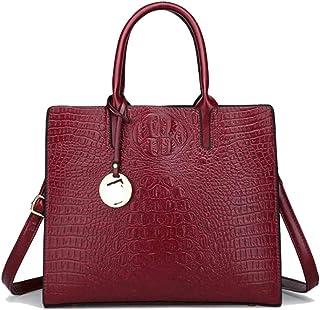 Trendy Lady Fashion Embossed Shoulder Bag, Versatile Handbag, Large-capacity Handbag Zgywmz (Color : Red, Size : 31 * 12 * 27cm)