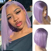 Lilac Lace Front Human Hair Bob Wig Silky Straight Middle Part Bob Wigs Glueless Pre Plucked 180 Density Swiss Lace Bob Wig 10 Inch