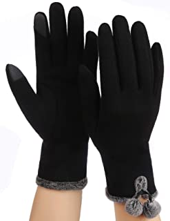 JUNLY Women Winter Gloves Texting Warm Touch Screen Gloves Smartphone Ladies Black Fleece Lined Gloves