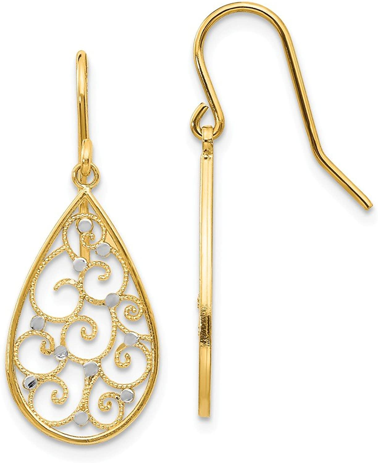 Rhodiumplatedgoldandsilver 14k & Rhodium Polished Teardrop Earrings