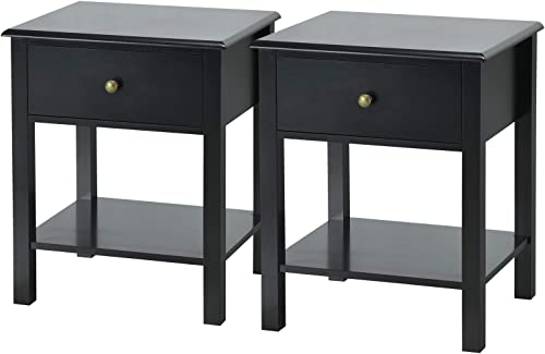 new arrival Giantex Nightstand W/Drawer and Shelf, online sale Stable Frame Storage Cabinet for Bedroom, Modern outlet sale Beside Sofa Accent End Table(2,Black) online sale