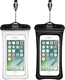 PSHYX 081 Universal 100 Feet Waterproof Phone Pouch Waterproof Bag with Floating Circle Compatible for iPhone Samsung Google Motorola LG Phone up to 7 Inch (Black and White, Pack of 2)