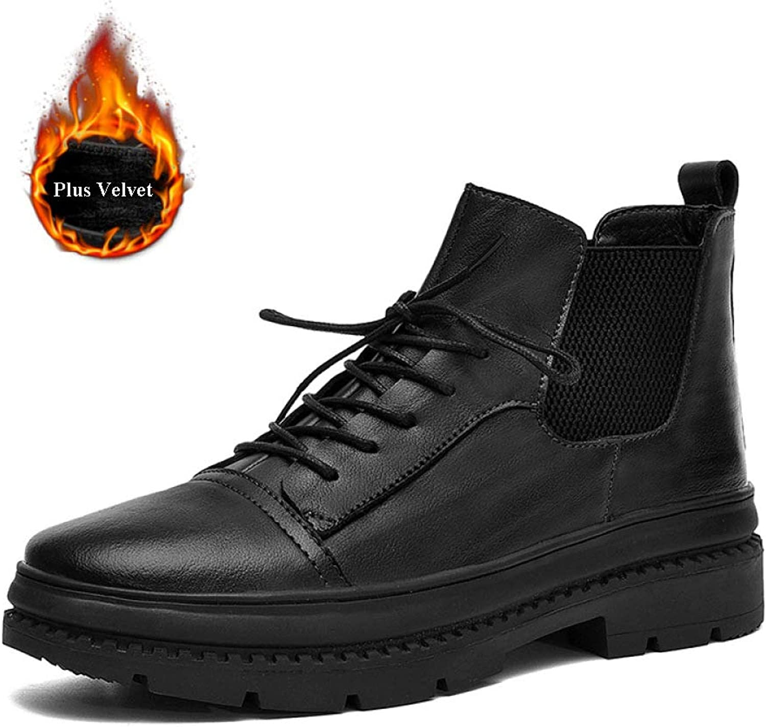 DZX Mens Winter Outdoor Casual Leather shoes British Style Lace Up Anti-Slip Luxurious Leather shoes - For Work And Walking,Black-UK8(43EUR)