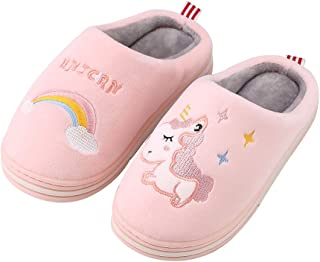 Cyiecw Kids House Slippers, Boys Girls Home Slippers Kids Cute Unicorn Slippers Winter Fur Lined Warm Indoor Shoes