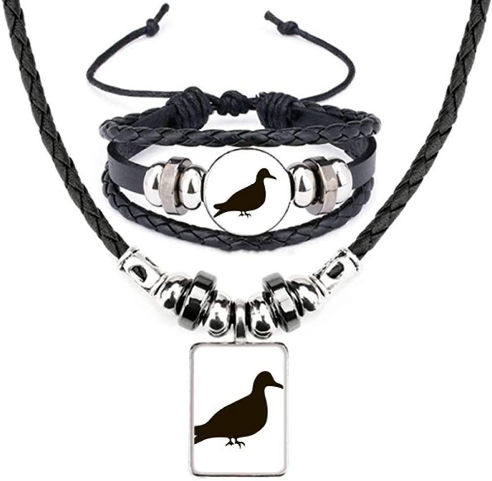 Black Pigeon Animal Portrayal Free shipping on posting Super-cheap reviews Jewelry Necklace Leather Bracelet