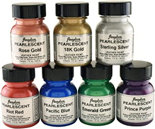 Angelus Leather Paint, Set of 7 Pearlized colors, 1oz jars
