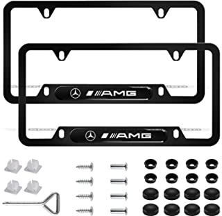 2Pcs Newest Custom Personalized 4 Hole Matte Aluminum alloy AMG Logo License Plate Framewith Screw Caps Cover Set,Applicable to US Standard car License Frame, for Mercedes Benz AMG(Matte Black).