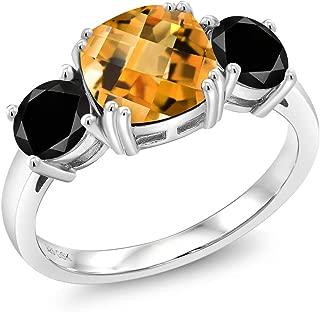 4.25 Ct Cushion Checkerboard Yellow Citrine Black Diamond 925 Silver Ring