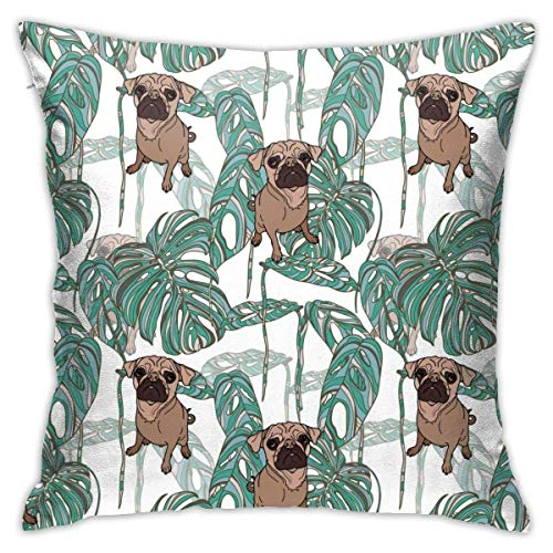 Ahdyr - Federa decorativa per cuscino, motivo carlino e foglie tropicali, 45 x 45 cm, stampa fronte/retro per divano, casa, auto, camera da letto, soggiorno