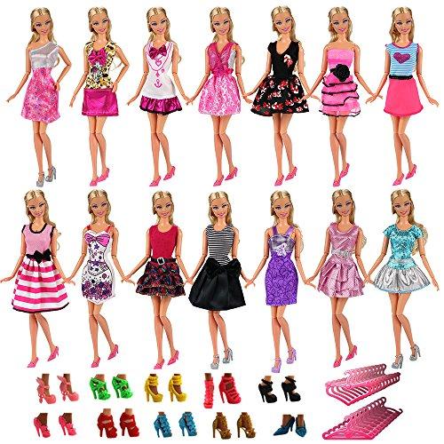 Miunana 15x = 5X Vestidos Estilo al Azar Ropas Casual + 5 Zapatos + 5 Perchas Accesorios como Regalo para Muñeca 28 - 30 cm Doll