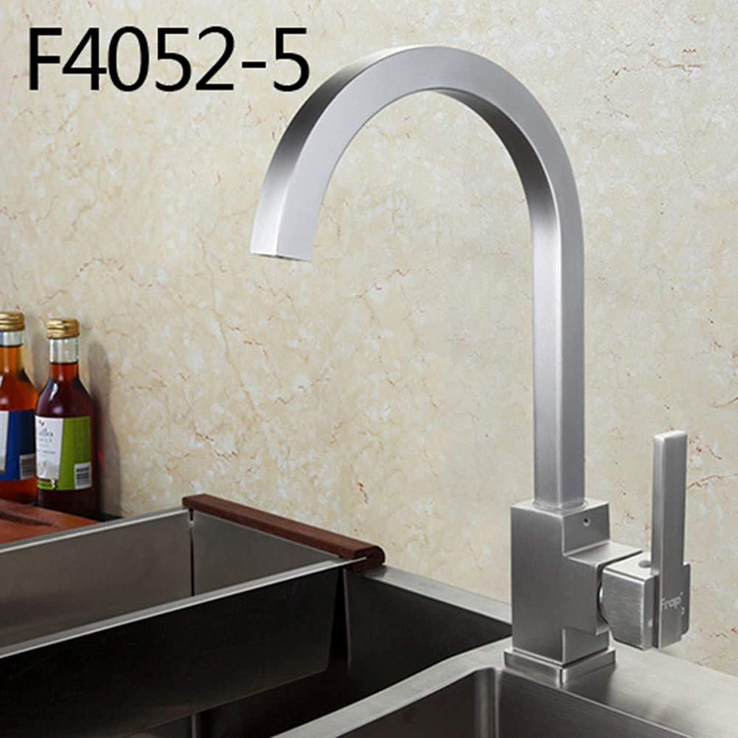 Hot and Cold Water Classic Kitchen Sink Faucet Space Aluminum Brushed Swivel Brass Water tap Mixer 360 Degree redation,F4052-5 Aluminum