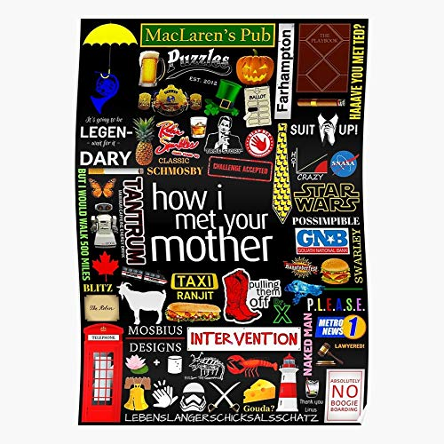 Your Himym I Stinson Barney Infographic Collage Iconographic Mother Tvseries How Met Symbols Home Decor Wall Art Print Poster ! Home Decor Wall Art Print Poster !