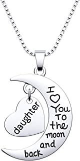 HOFOYA I Love You To The Moon and Back Necklace Pendant for Mother Sister Daughter Aunt Grandmother Gift Family Jewelry