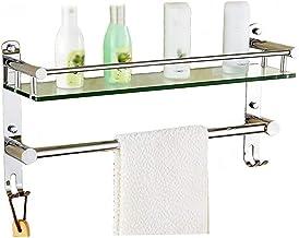 Badkamerplank, 2 lagen gehard glazen plank Badkamertoilet Roestvrijstalen wandgemonteerde spiegel voorframe (kleur: B, maa...