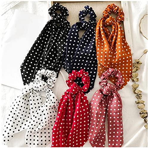 Mujeres cola de caballo lazos para el cabello bufanda cuerda elástica para el cabello para mujeres pajaritas Scrunchies diademas flor puntos cinta accesorios para el cabello 6 piezas