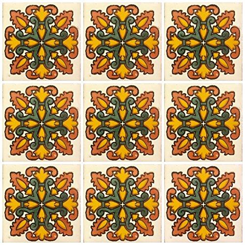 Azulejos de cerámica Talavera mexicana 4 x 4, 9 piezas (no pegatinas) A1 calidad de exportación. - EX403