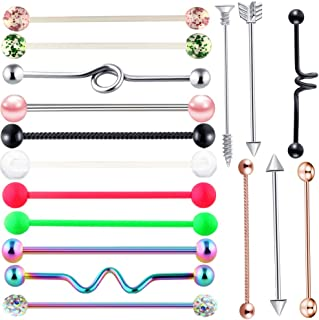 14G 8-17PCS 38mm Stainless Steel Industrial Barbell Ear Cartilage Helix-Conch Piercing Bar 1 1/2 Inch