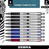 Zebra F-301 Ballpoint Stainless Steel Retractable Pen, Fine Point, 0.7mm, Assorted Ink, 9-Count: Black, Blue, Red
