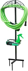 Ohuhu Garden Hose Holder for Outside with Tools Basket, Detachable Metal Water Hose Hanger, Heavy Duty Freestanding Hose Stand, Hose Reel Holders with Portable Storage Rack for Lawn Patio Yard