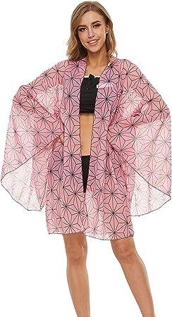 Womens Demon Slayer : Kimetsu no Yaiba Cosplay Swimsuit 2 Pieces Bikini Chiffon Sarong Cardigan Kamado Nezuko Bathing Suits S