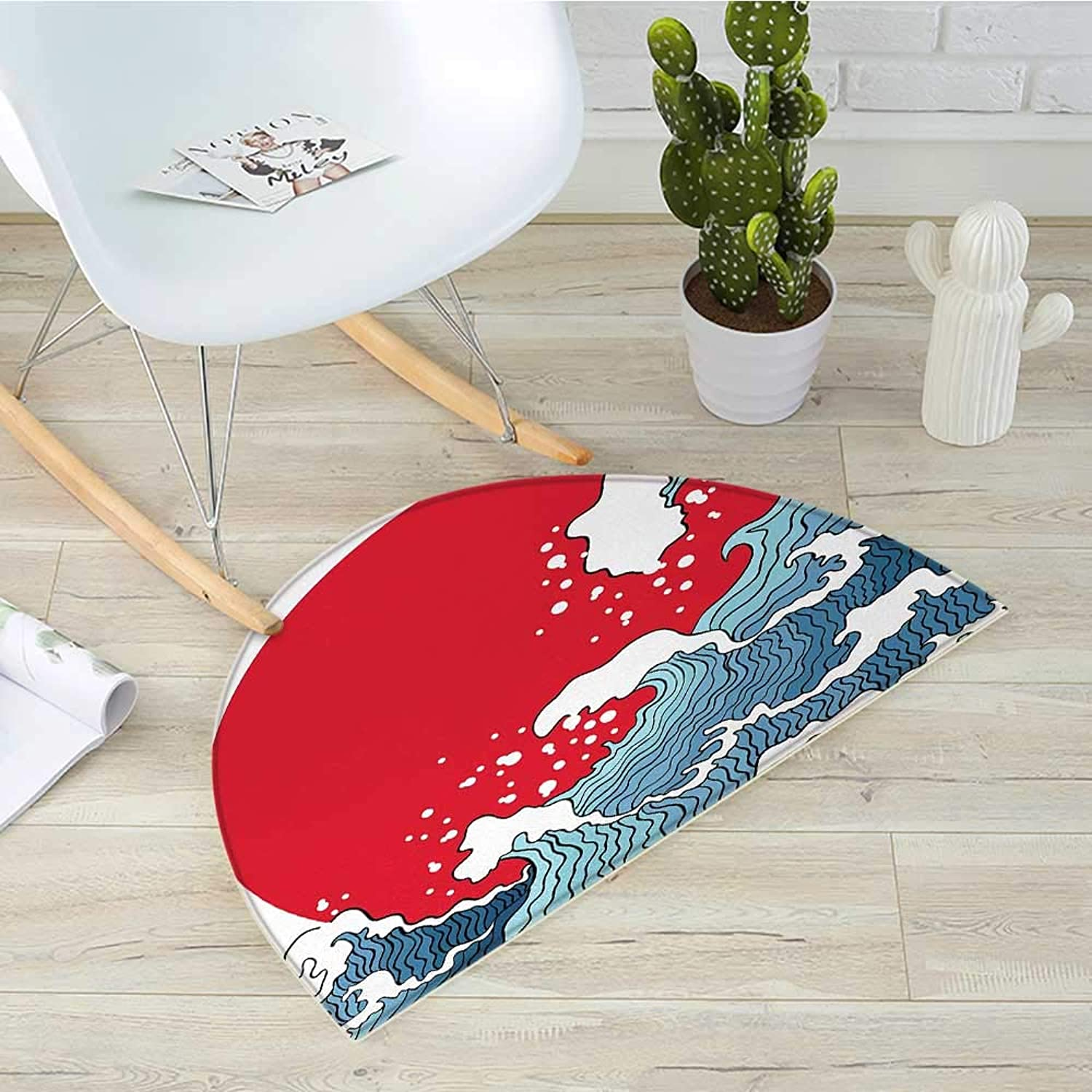 Japanese Wave Semicircle Doormat Big Red Sun Setting Scenery Tropical Nautical Artistic Tsunami Swirls Halfmoon doormats H 31.5  xD 47.2  Red bluee White