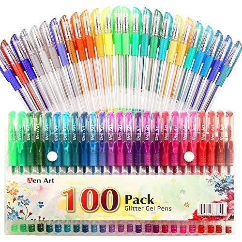 Glitter Gel Pen by Aen Art Set of 100 Unique Colors Glitter Pens with Grip for