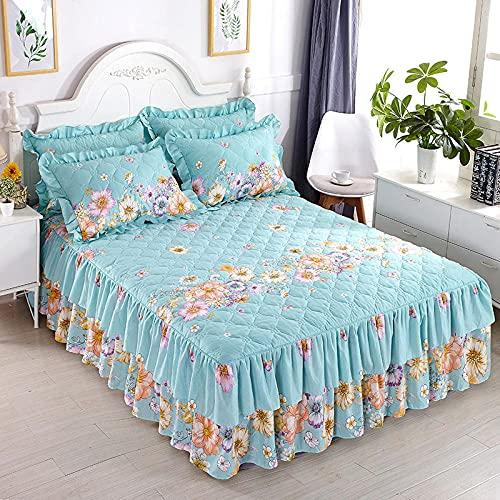 CYYyang Protector de colchón, algodón, poliéster, Hoja de Cama de Encaje de Falda de Cama Gruesa-4_180 * 220cm