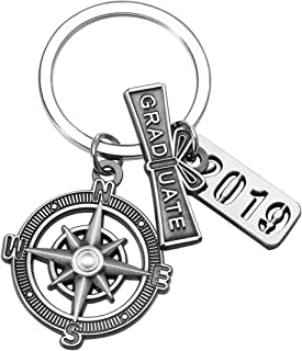 "Graduation Keychain with Scroll,""2019"" Charm and Compass - Graduation Gifts for Him"