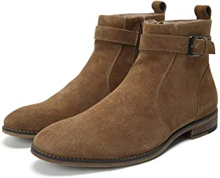 Cestfini Buckle Suede Chelsea Boots for Men Genuine Leather Dress Boots with Side-Zipper, Casual Waterproof Ankle Boots Ge...